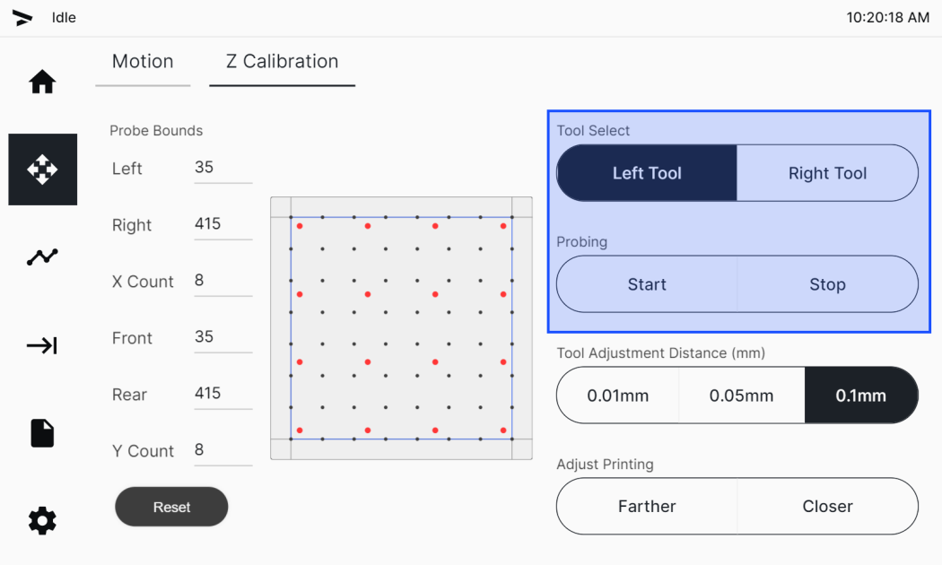 Tool Select and Probing buttons in the Z Calibration tab
