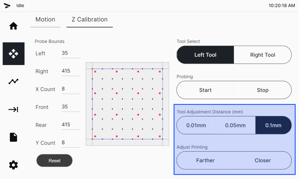Offset Adjustment buttons in the Z Calibration tab