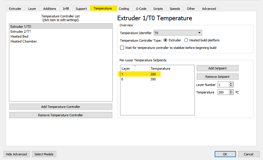 First layer extrusion temperature setting in the _Temperature_ tab