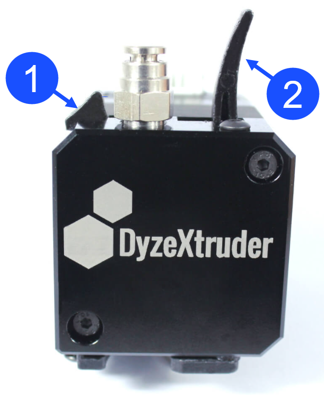 Dyze Extruder Tab and Lever Overview.
