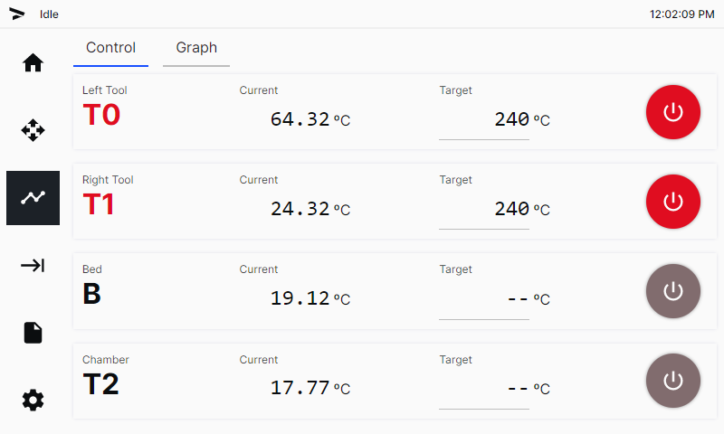 Temperature screen set to print ABS